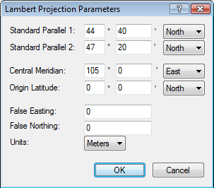 Lambert Conformal Conic projection parameters for map of Mongolia