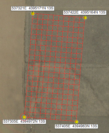 Setting up a sampling grid coordinate system for GPS