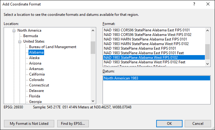 Alabama coordinate and datum converter: Alabama state plane, UTM, lat/long, NAD83, NAD27, WGS84