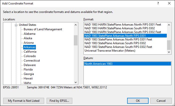 arkansas coordinate and datum converter: arkansas state plane, UTM, lat/long, NAD83, NAD27, WGS84