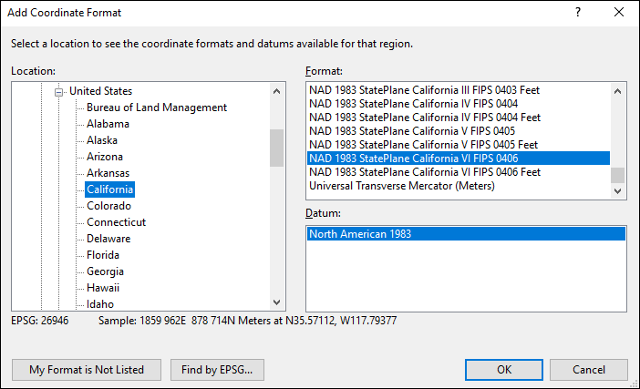 California coordinate and datum converter: California state plane, UTM, lat/long, NAD83, NAD27, WGS84