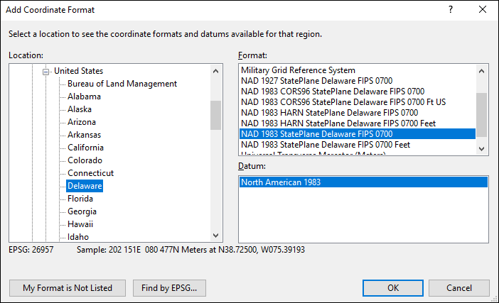 delaware coordinate and datum converter: delaware state plane, UTM, lat/long, NAD83, NAD27, WGS84