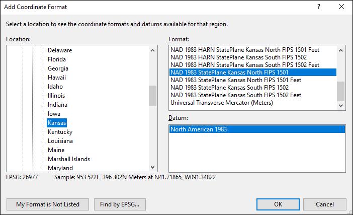 Kansas coordinate and datum converter: Kansas state plane, UTM, lat/long, NAD83, NAD27, WGS84