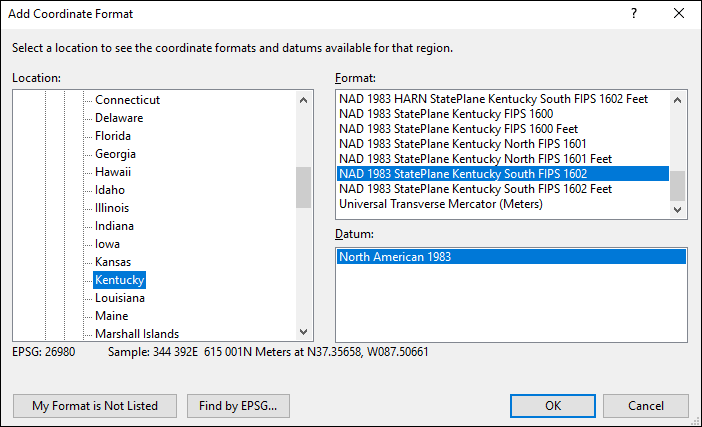 Kentucky coordinate and datum converter: Kentucky state plane, UTM, lat/long, NAD83, NAD27, WGS84