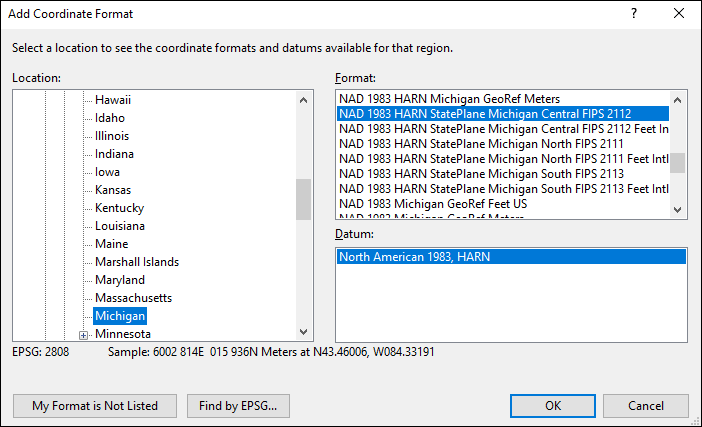 michigan coordinate and datum converter: michigan state plane, UTM, lat/long, NAD83, NAD27, WGS84