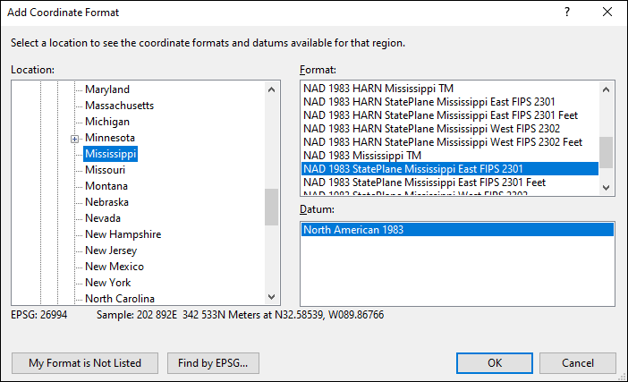 mississippi coordinate and datum converter: mississippi state plane, UTM, lat/long, NAD83, NAD27, WGS84