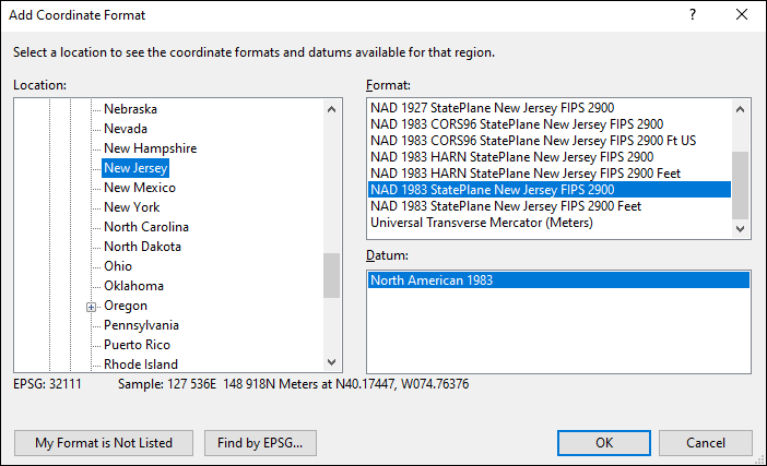 New Jersey coordinate and datum converter: New Jersey state plane, UTM, lat/long, NAD83, NAD27, WGS84