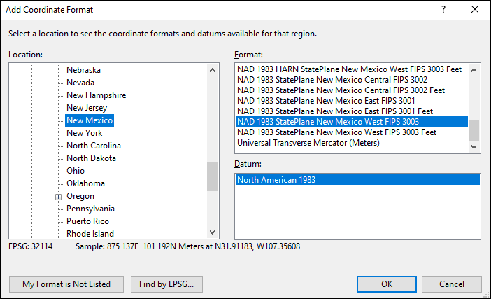 New Mexico coordinate and datum converter: New Mexico state plane, UTM, lat/long, NAD83, NAD27, WGS84