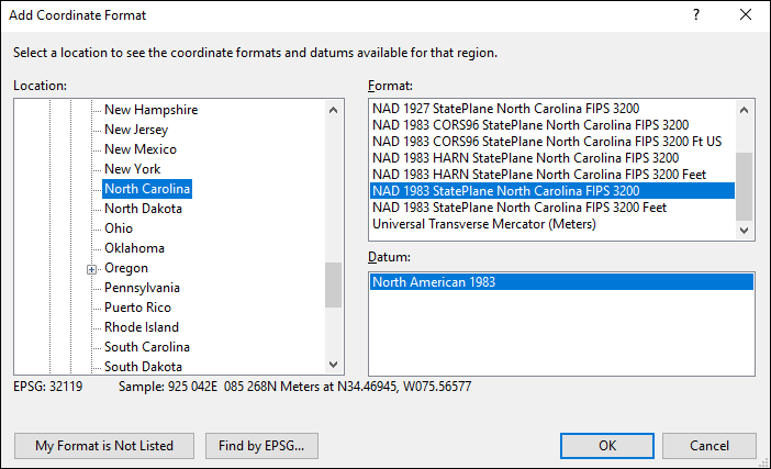 North Carolina coordinate and datum converter: North Carolina state plane, UTM, lat/long, NAD83, NAD27, WGS84