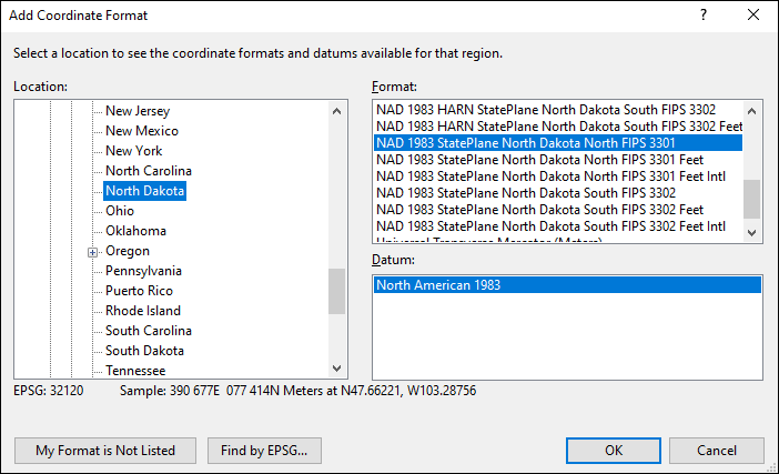 North Dakota coordinate and datum converter: North Dakota state plane, UTM, lat/long, NAD83, NAD27, WGS84