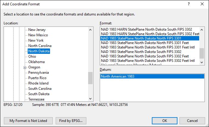 north dakota coordinate and datum converter: north dakota state plane, UTM, lat/long, NAD83, NAD27, WGS84