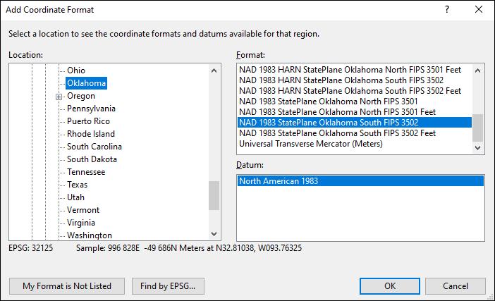 Oklahoma coordinate and datum converter: Oklahoma state plane, UTM, lat/long, NAD83, NAD27, WGS84