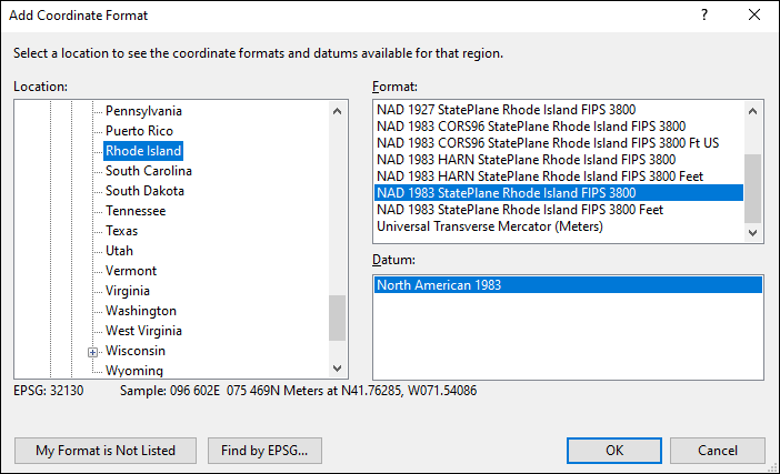 rhode island coordinate and datum converter: rhode island state plane, UTM, lat/long, NAD83, NAD27, WGS84