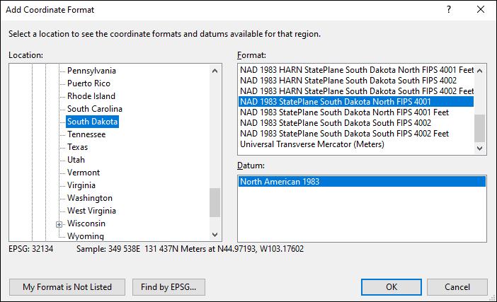 South Dakota coordinate and datum converter: South Dakota state plane, UTM, lat/long, NAD83, NAD27, WGS84
