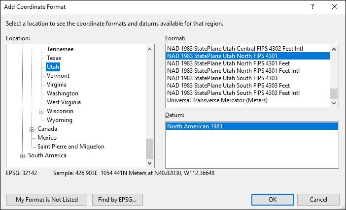 Utah coordinate and datum converter: Utah state plane, UTM, lat/long, NAD83, NAD27, WGS84