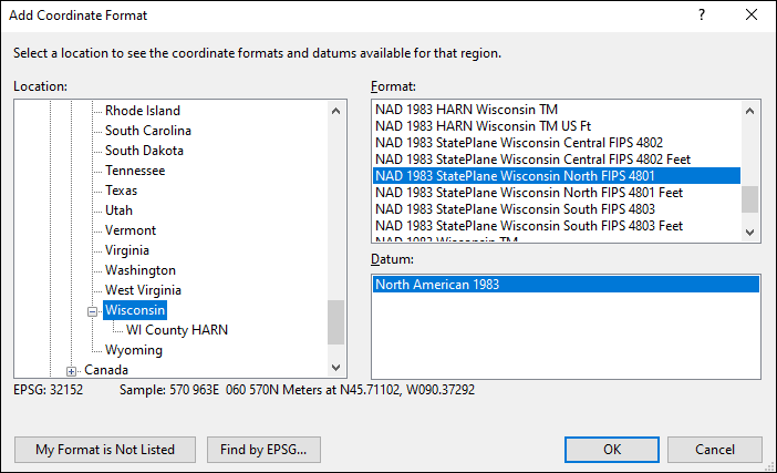 Wisconsin coordinate and datum converter: Wisconsin state plane, UTM, lat/long, NAD83, NAD27, WGS84