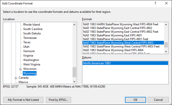 Wyoming coordinate and datum converter: Wyoming state plane, UTM, lat/long, NAD83, NAD27, WGS84