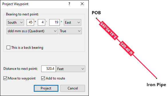 Use the Project Waypoint dialog in ExpertGPS to enter each of your property lines